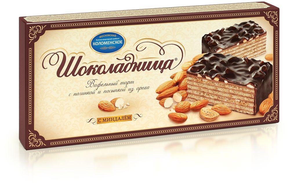 Шоколадница Торт вафельный с миндалем, 270 г волшебница золотой орех шоколад темный с миндалем 190 г
