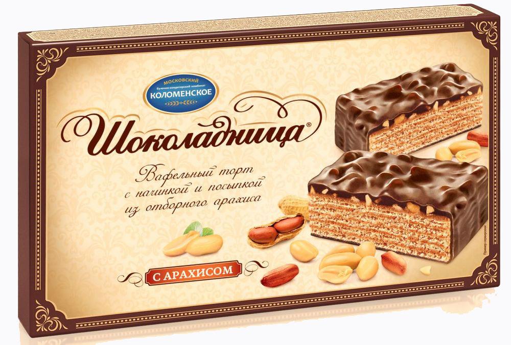 Шоколадница Торт вафельный с арахисом+торт вафельный, 430 г4601347002625Вафельный торт с начинкой и посыпкой из отборного арахиса, покрытый темной глазурью. Всеми любимое сочетание яркого вкуса арахиса, хрустящих вафель и шоколадных ноток.
