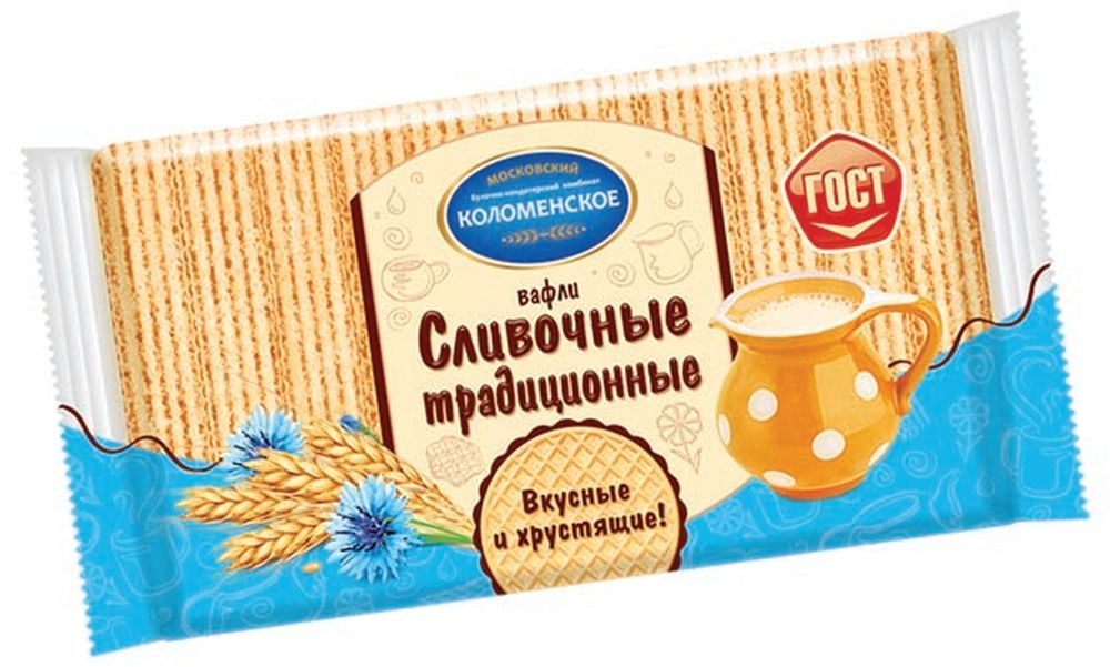 Коломенское Вафли сливочные традиционные, 220 г вафли коломенское со вкусом топленого молока 220г