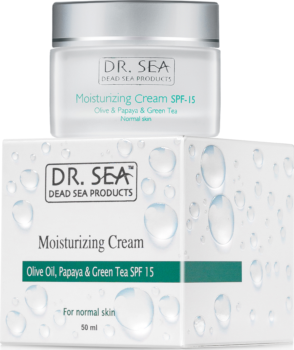 Dr.Sea Увлажняющий крем для лица с маслом оливы, экстрактом папайи  зеленого чая SPF15, 50 мл