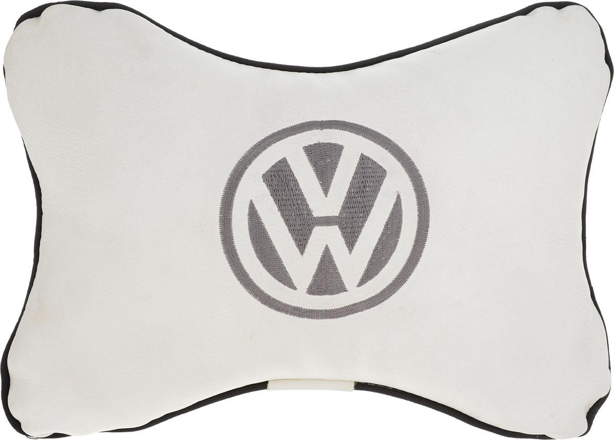 Подушка автомобильная Autoparts Volkswagen, на подголовник, цвет: белый, 30 х 20 см