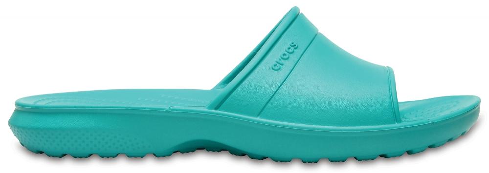 Шлепанцы Crocs Classic Slide, цвет: бирюзовый. 204067-3N9. Размер 6-8 (38/39)204067-3N9Комфортные шлепанцы Classic Slide от Crocs созданы из уникального инновационного полимера Croslite. Материал под воздействием температуры тела позволяет обуви принимать форму ноги и повышает её ортопедические характеристики. Подошва имеет рельефный протектор, который обеспечивает надежное сцепление с поверхностью.