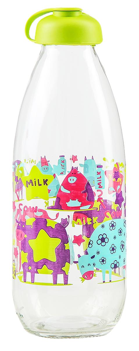 Бутылка Renga Milky, цвет: зеленый, 1 л2936558-зеленыйБутылка для молока Renga Milky изготовлена из стекла. Изделие оформлено красочным изображением. Бутылка прекрасно подойдет для хранения различных жидких продуктов: молока, воды и многого другого. Пластиковая крышка герметично закрывается, что позволяет дольше сохранять продукты свежими. Изящная емкость не только поможет хранить разнообразные сыпучие продукты, но и стильно дополнит интерьер кухни.