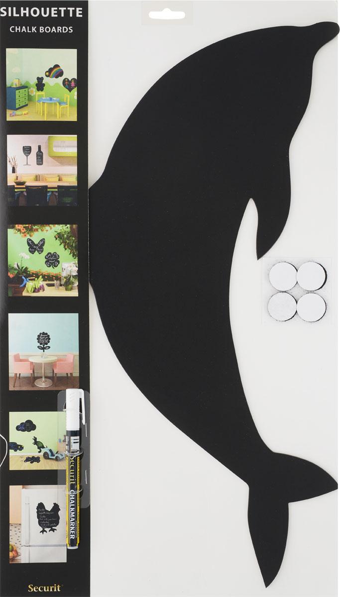 """Меловая доска для сообщений Securit """"Дельфин"""" + маркер в комплекте"""