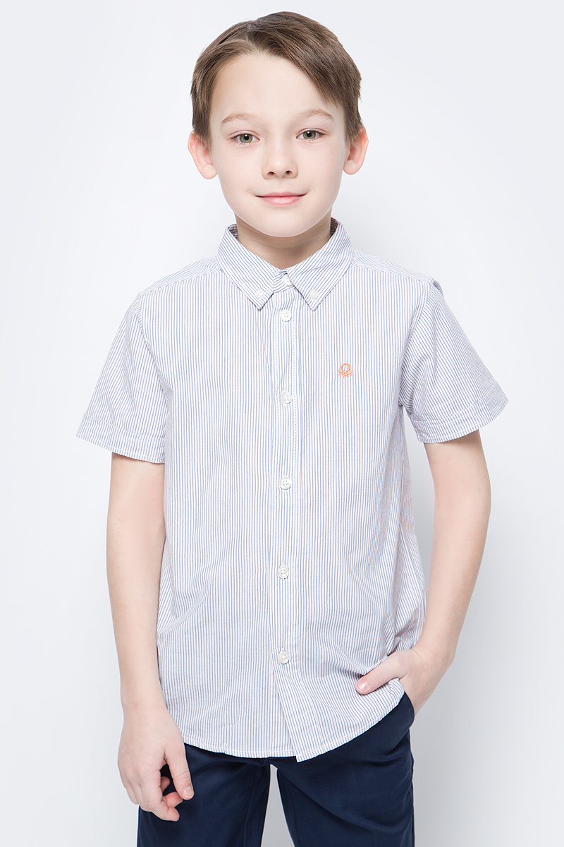 Рубашка для мальчиков United Colors of Benetton, цвет: белый, голубой, оранжевый. 5FU95QBG0_939. Размер 1605FU95QBG0_939