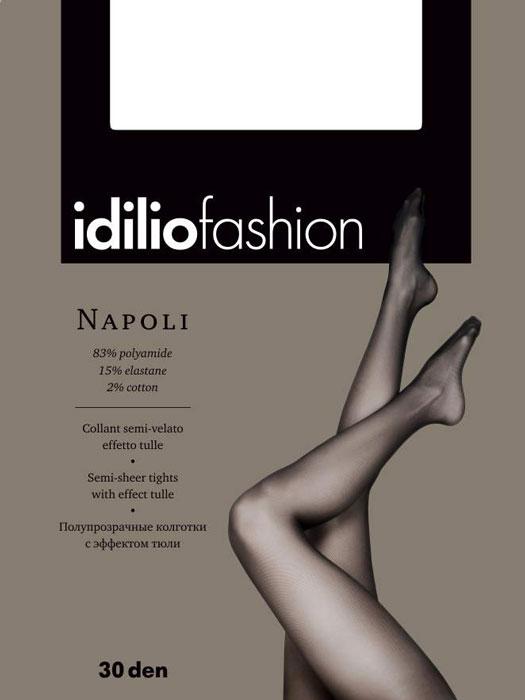 Колготки Idilio Napoli, цвет: Nero (черный). kw14. Размер 3kw14Полупрозрачные колготки 30 ден с эффектом тюли, с поддерживающими шортиками, с ластовицей.
