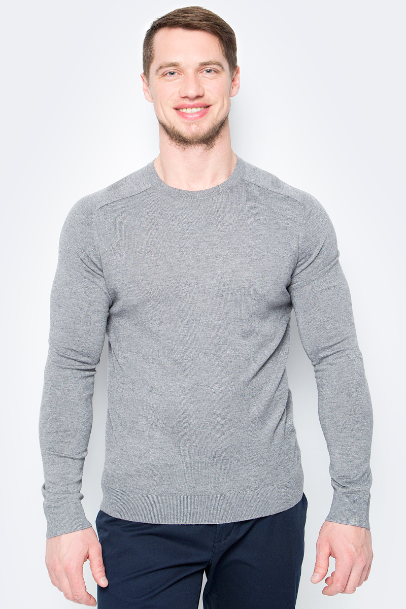 Пуловер мужской United Colors of Benetton, цвет: серый. 10VRU1F12_507. Размер L (50/52)