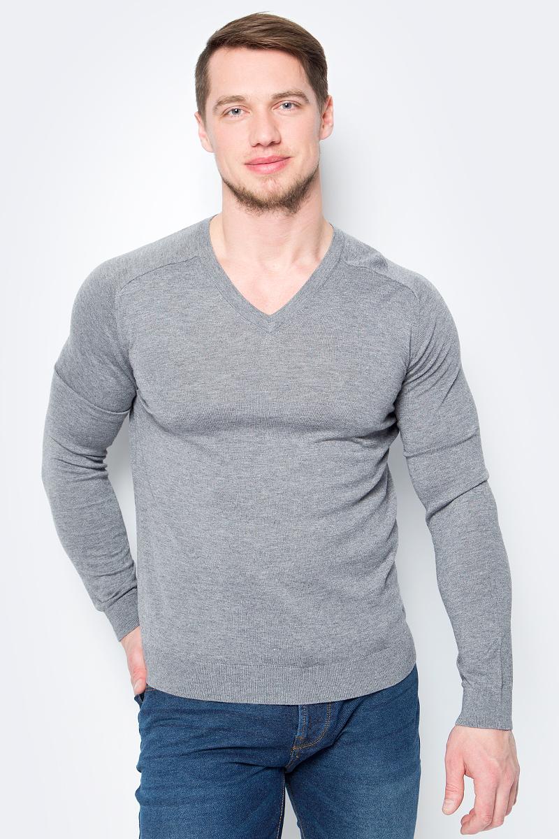 Пуловер мужской United Colors of Benetton, цвет: серый. 10VRU4365_507. Размер S (46/48)10VRU4365_507