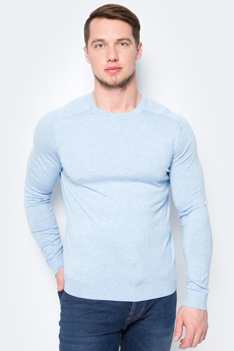 Пуловер мужской United Colors of Benetton, цвет: голубой. 10VRU1F12_80B. Размер L (50/52)10VRU1F12_80B