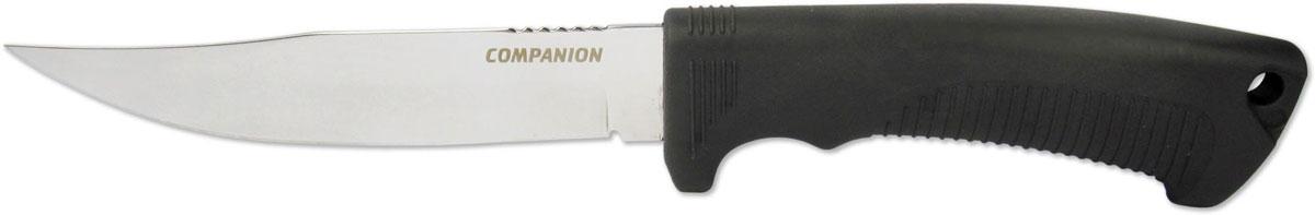 Нож туристический Ножемир Companion, цвет: черный, длина клинка 13,7 см. H-227H-227Этот нож ориентирован прежде всего на людей связанных с рыбалкой-за счет острого и узкого клинка им удобно разделывать и потрошить рыбу, а рукоять из нескользящего материала эластон дополненной подпальцевым упором - предотвратит соскальзывания даже в мокрую погоду и даже в ситуациях когда работать ножом приходится в воде. Нож комплектуется не убиваемыми (не гниющими) ножнами из кордуры.