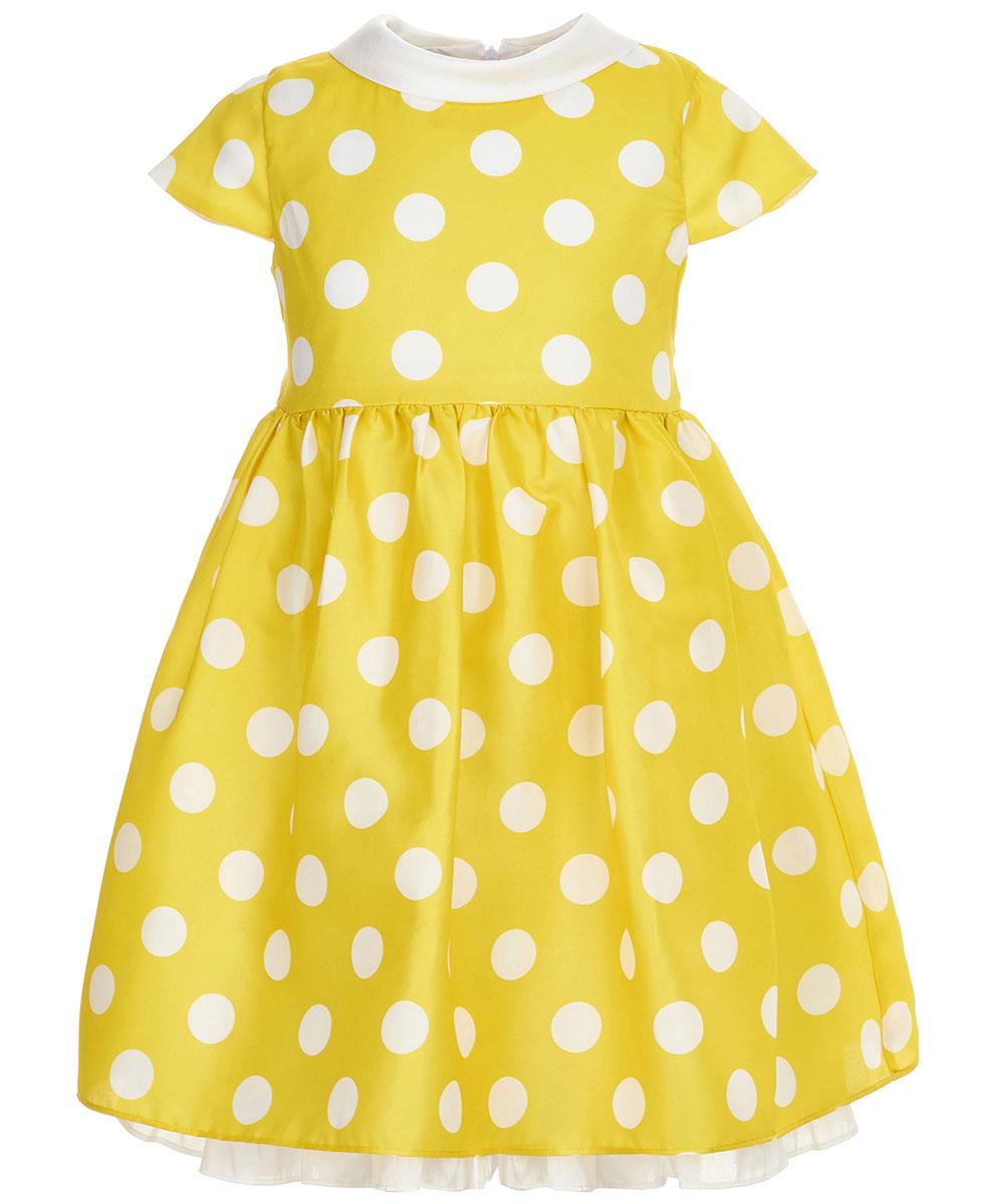 Платье для девочки Button Blue Party, цвет: желтый. 118BBGP25062704. Размер 110118BBGP25062704Нарядное платье в крупный горох от Button Blue, украшенное поясом с бантом, привлечет к вашей малышке внимание всех окружающих на детском празднике.Платье с рукавам-крылышками и отложным воротничком изготовлено из легкого материала на хлопковой подкладке и застегивается на скрытую застежку-молнию на спинке. Свободное и легкое, платье не стесняет движений, отлично сидит по фигуре и дарит только комфорт. В таком платье каждая девочка станет звездой любой вечеринки.