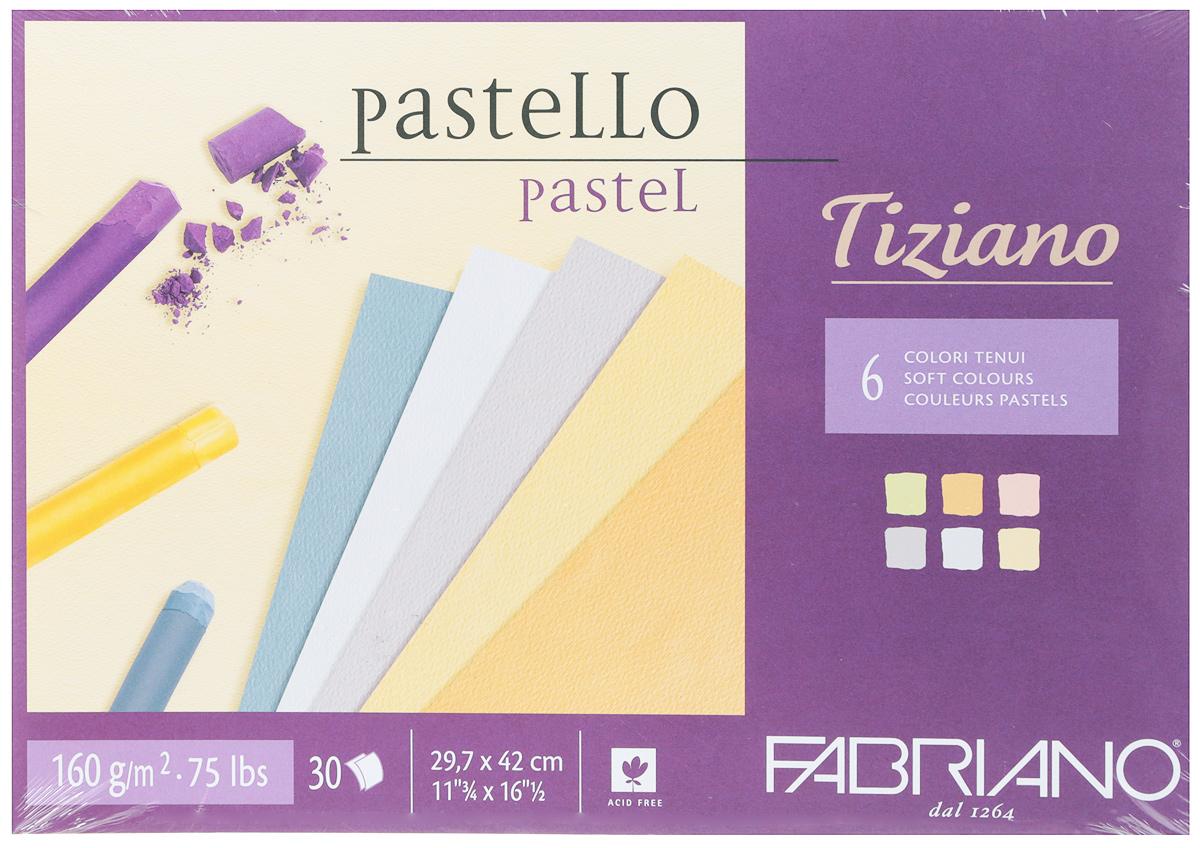 Fabriano Альбом для пастели Tiziano 6 цветов 30 листов 4602974246029742Бумага для пастели Tiziano одна из самых популярных в мире. Бумага может быть использована не только для сухих техник (пастель, уголь, сепия, сангина, карандаш, акварельные краски и гуашь), но и для дизайнерских работ (скручивание, резка, склеивание, создание карт и так далее).Tiziano изготавливается из целлюлозы и хлопка (40%). В состав не входят кислоты, что обеспечивает высокую светостойкость готовой работы. Благодаря зернистой, чуть шероховатой фактуре обеспечивается сцепление материалов с поверхностью бумаги.