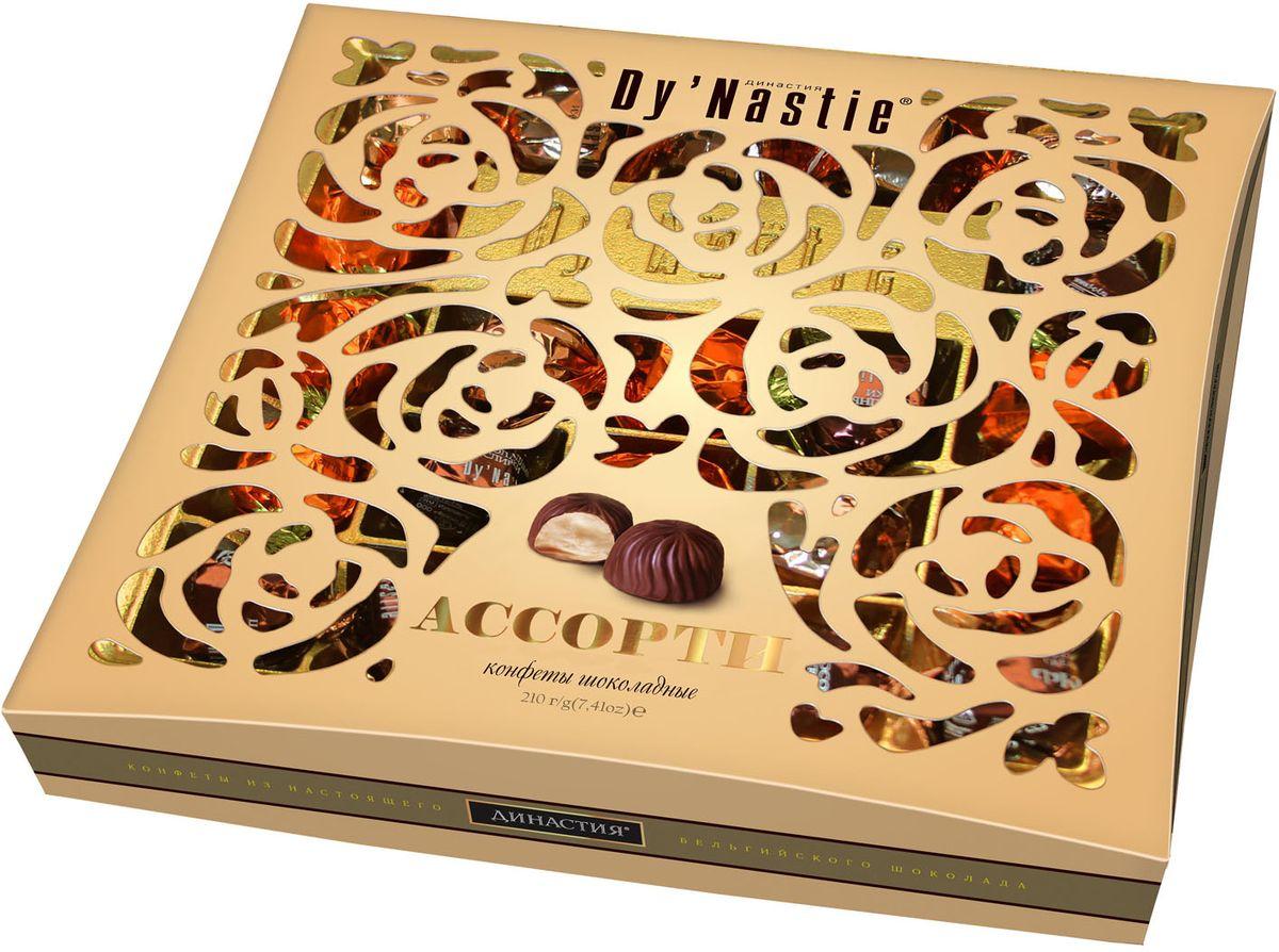 Династия ассорти конфет с начинкой в темном шоколаде, 210 г драже boffo миндаль в мятном шоколаде 8 штук по 160 г