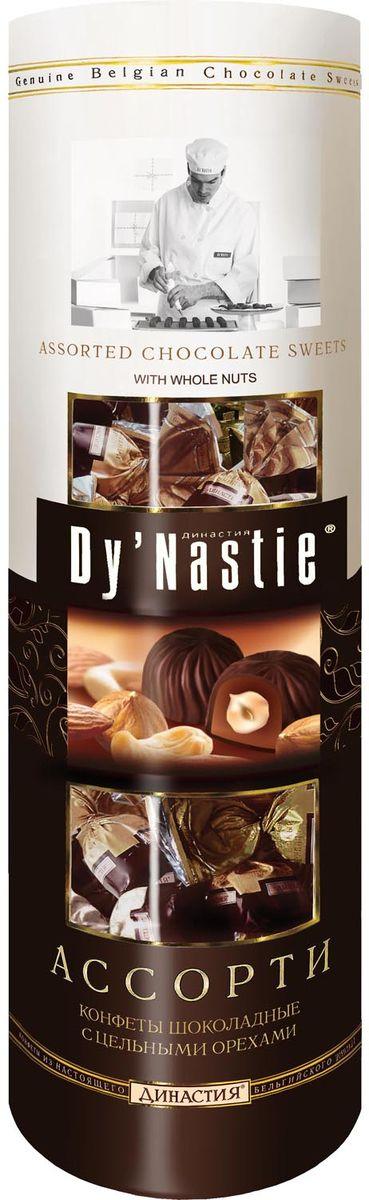 Династия Ассорти с цельными орехами шоколадные конфеты, 198 г пудовъ кексики шоколадные 250 г