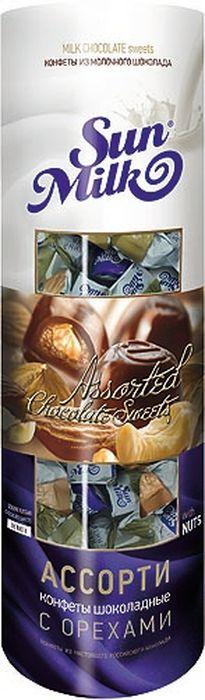 Династия Sun Milk ассорти с орехами шоколадные конфеты, 198 г пудовъ кексики шоколадные 250 г