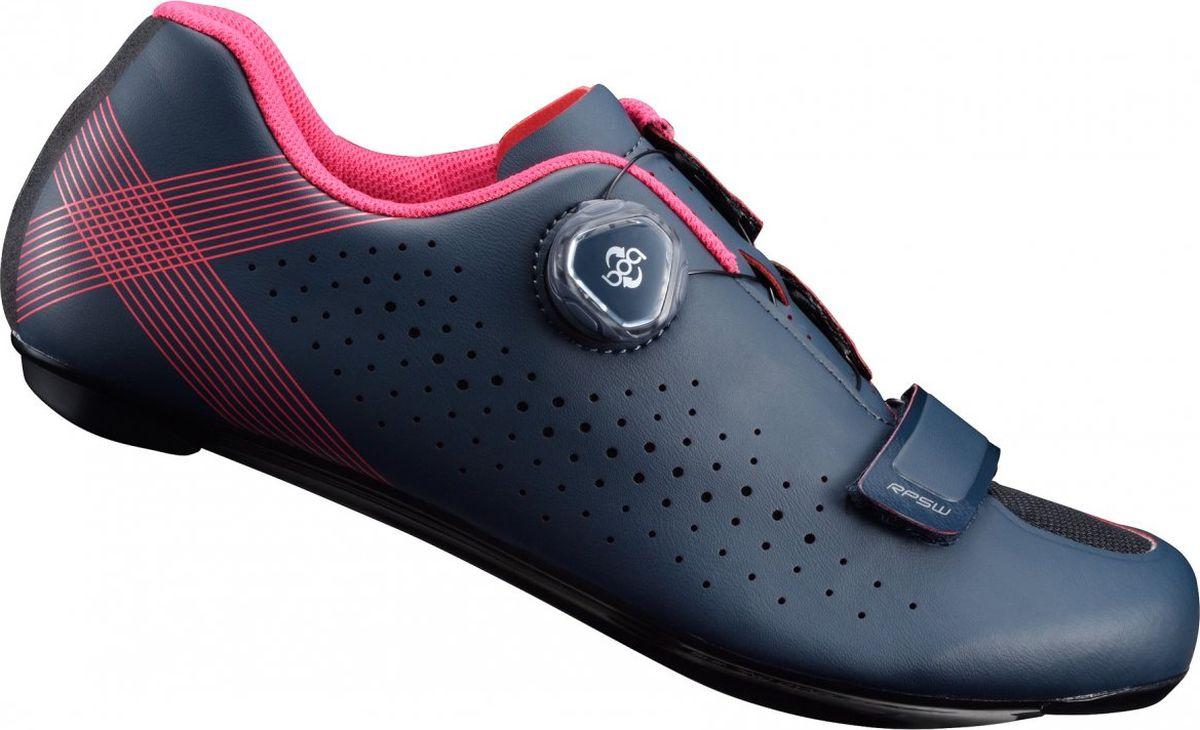 Велотуфли женские Shimano SH-RP501W, цвет: темно-синий. Размер 38SH-RP501W_синГибкие и надежные тренировочные туфли, созданные специально для амбициозных велосипедистокОсобенности Цельный верх без швов для идеальной посадки и комфорта на протяжении всего дня Лёгкая нейлоновая подошва, усиленная углеволокном, для эффективной передачи энергии Защелка Boa L6 с микрорегулировкой и скрытой прокладкой шнуровки Покрой, специально предназначенный для женщин, для естественного и комфортного прилегания Надежные, широкие подкладки под пятку обеспечивают устойчивость при ходьбе Оптимальная вентиляция верха, стельки и подошвы