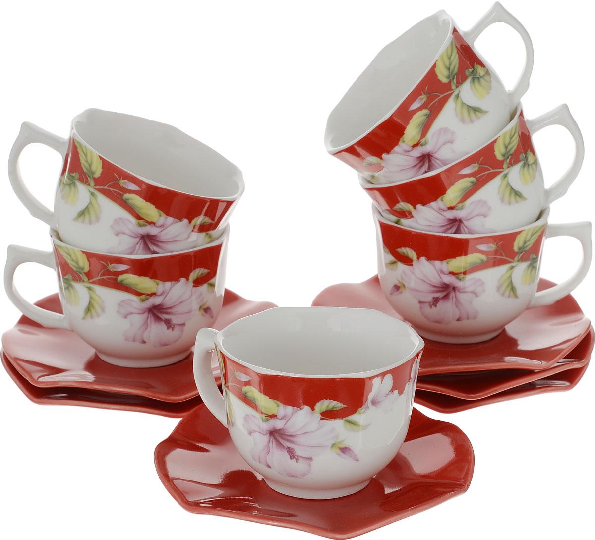 Набор кофейный Mayer & Boch, 12 предметов. 2472624726Кофейный набор LORAINE состоит из 6 чашек и 6 блюдец, выполненных из высококачественой керамики. Изящный дизайн придется по вкусу и ценителям классики, и тем, кто предпочитает утонченность и изысканность. Он настроит на позитивный лад и подарит хорошее настроение с самого утра. Набор упакован в стильную подарочную коробку. Внутренняя часть коробки задрапирована белой атласной тканью. Каждый предмет надежно зафиксирован внутри коробки благодаря специальным выемкам. Чайный набор - идеальный и необходимый подарок для вашего дома и для ваших друзей в праздники, юбилеи и торжества! Он также станет отличным корпоративным подарком и украшением любой кухни.