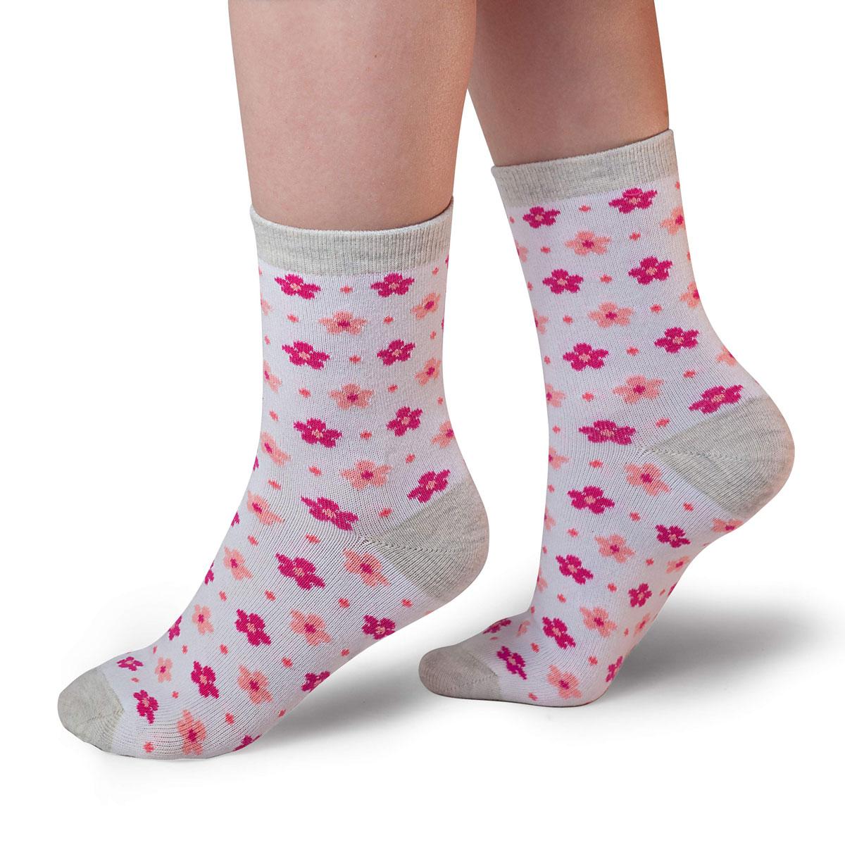 Носки для девочки Idilio, цвет: белый, коралловый. SG08. Размер 27/29SG08Комфортные носки для девочек с добавлением экологически чистого хлопка, изготовленные без применения химических красителей.