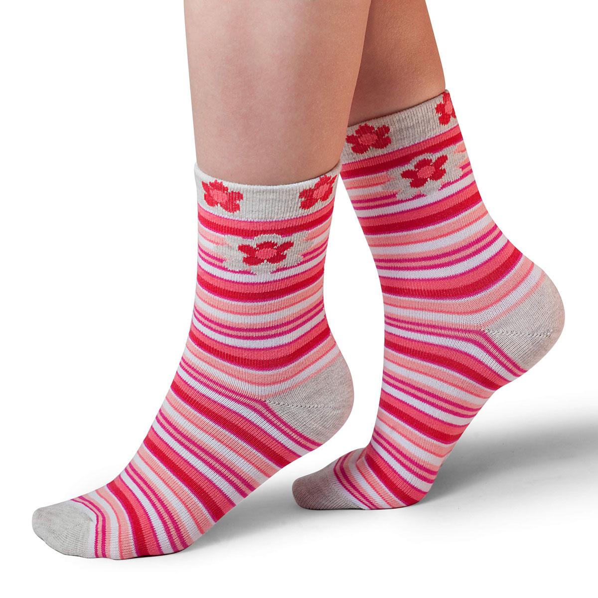 Носки для девочки Idilio, цвет: белый, коралловый. SG09. Размер 30/32SG09Комфортные носки для девочек с добавлением экологически чистого хлопка, изготовленные без применения химических красителей.