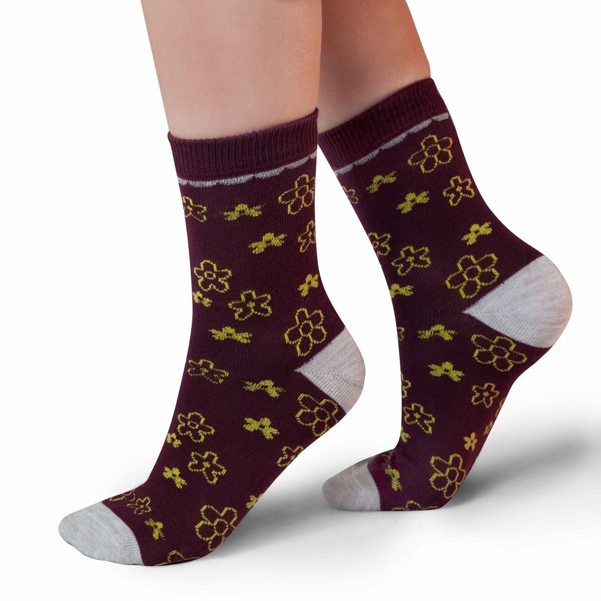 Носки для девочки Idilio, цвет: бордовый. SG12. Размер 27/29SG12Комфортные носки для девочек с добавлением экологически чистого хлопка, изготовленные без применения химических красителей.