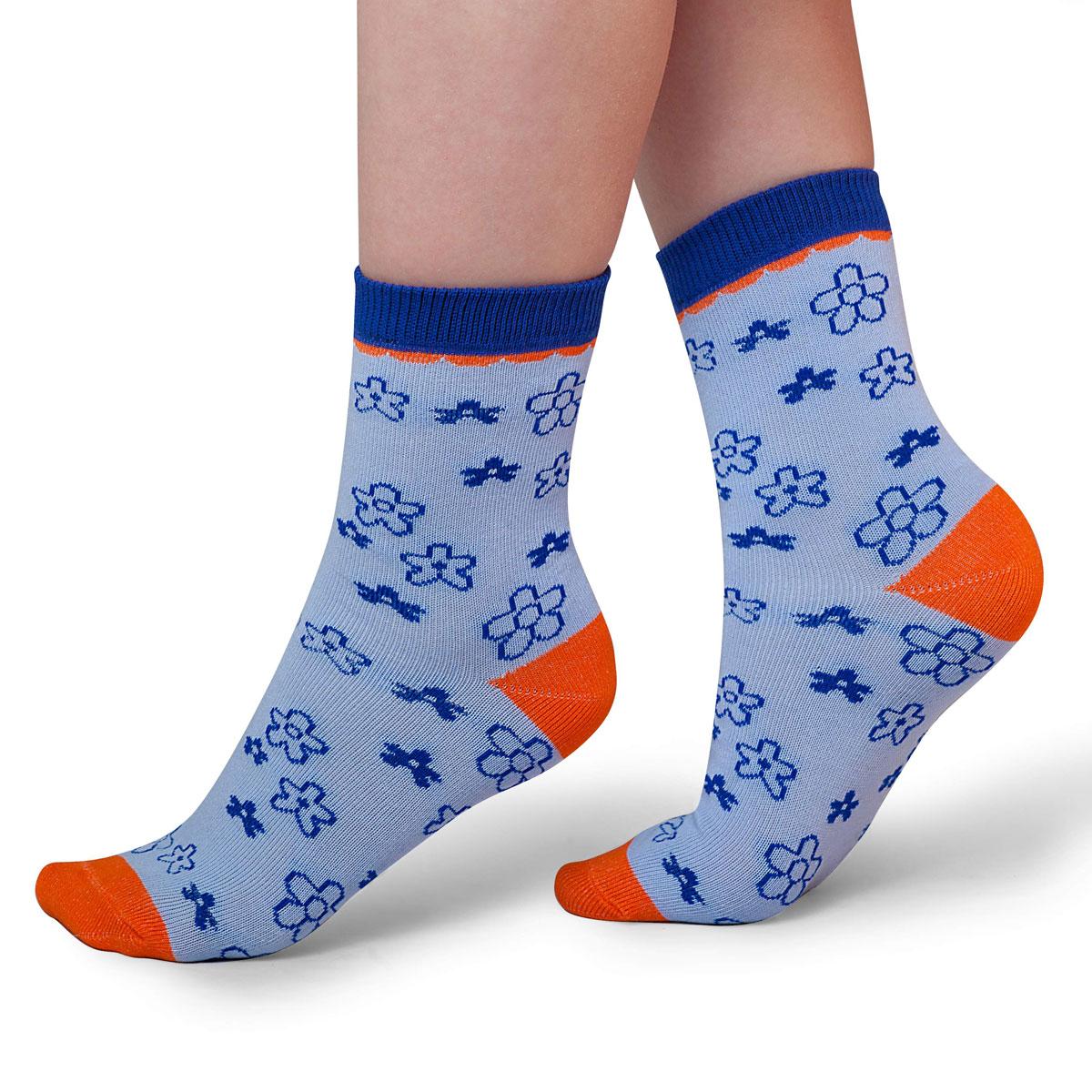 Носки для девочки Idilio, цвет: голубой. SG12. Размер 30/32SG12Комфортные носки для девочек с добавлением экологически чистого хлопка, изготовленные без применения химических красителей.