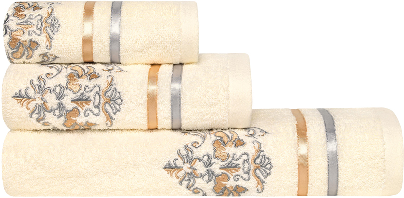 """Набор банных полотенец Estia """"Королевский стиль""""состоит из 3 махровых полотенец, выполненных из натурального 100% хлопка с узором по краям, под """"царский герб"""".   Изделия отлично впитывают влагу, быстро сохнут, сохраняют яркость цвета и не теряют формы даже после многократных стирок.   Размер маленького полотенца: 30 х 50 см.  Размер среднего полотенца: 50 х 90 см. Размер большого полотенца: 70 х 140 см."""