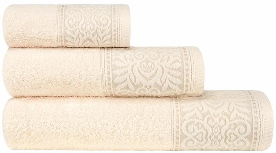 Набор банных полотенец Estia Франческа, цвет: экрю, 3 шт набор полотенец karna sandy цвет стоне 50 х 90 см 70 х 140 см 2 шт