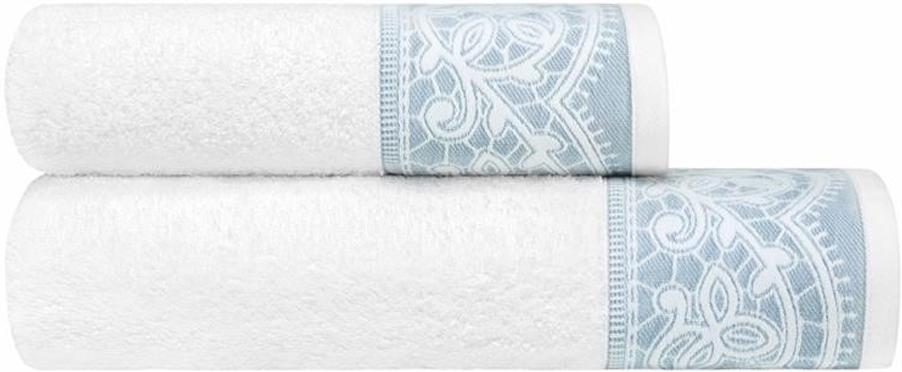 Набор банных полотенец Estia Инносенто, цвет: белый, серый, 2 шт набор полотенец karna sandy цвет стоне 50 х 90 см 70 х 140 см 2 шт