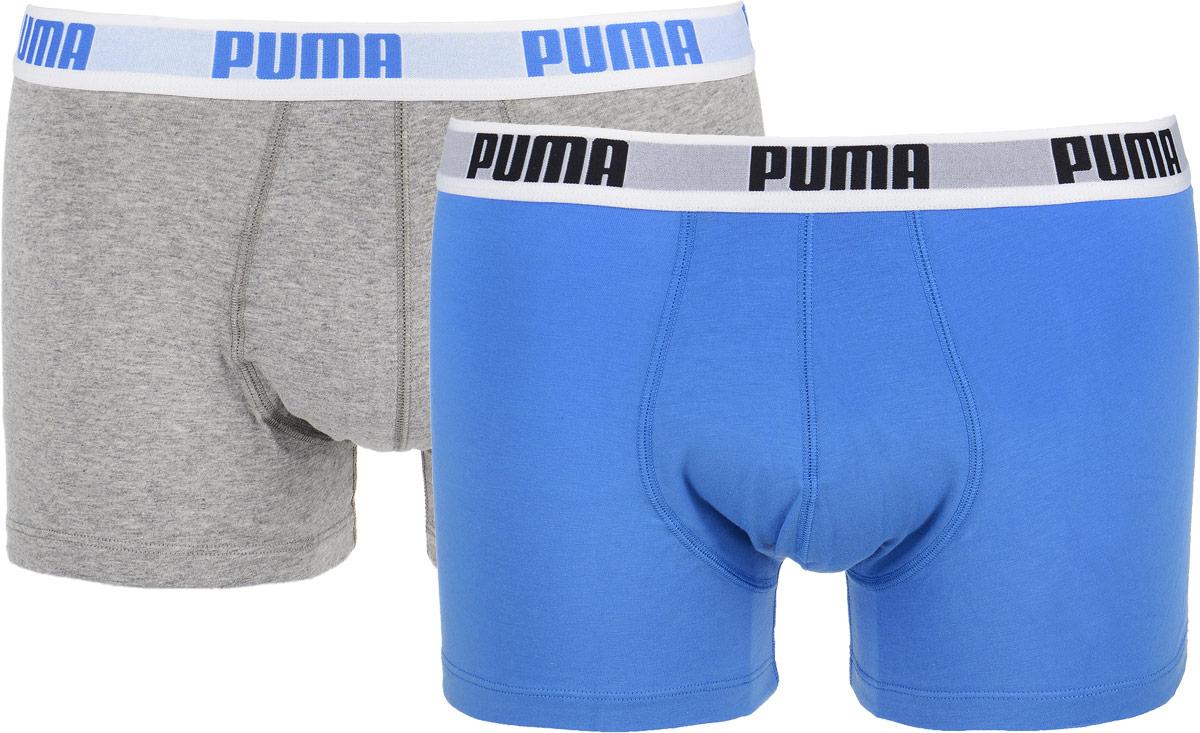 Трусы-боксеры мужские Puma Basic Trunk 2p, цвет: серый, голубой, 2 шт. 88887010. Размер S (44/46)