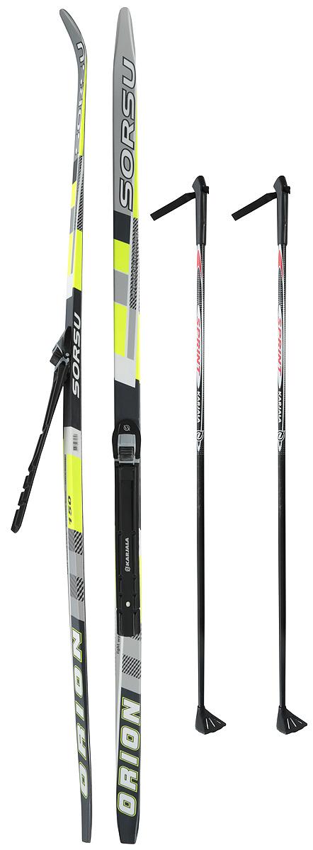 """Лыжи беговые Karjala """"Orion Wax"""", с креплением NNN, цвет: черный, желтый, рост 150 см"""