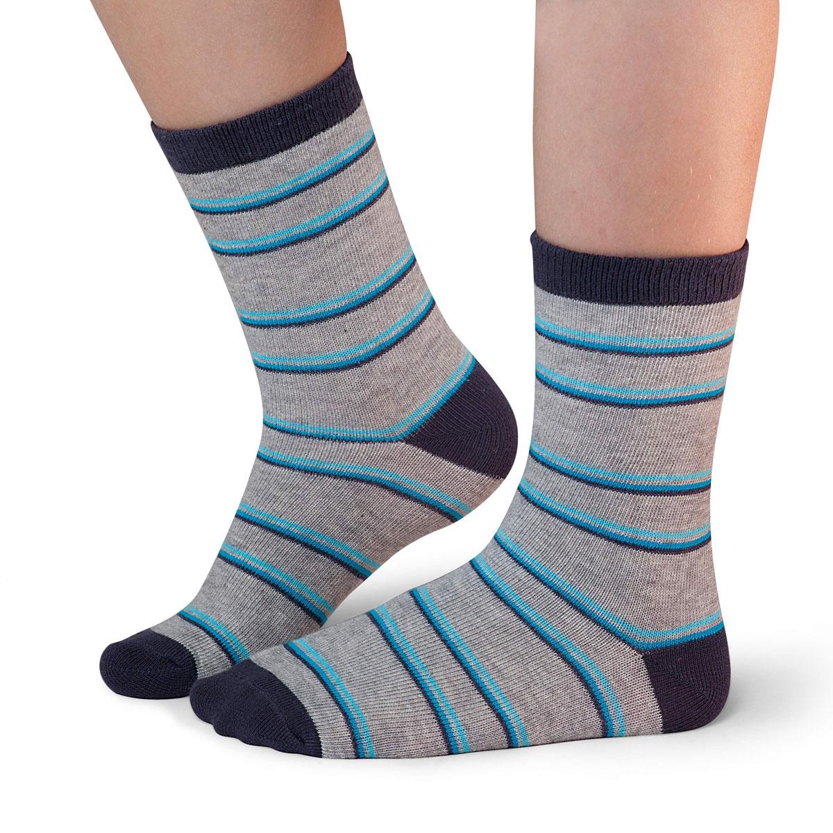 Носки для мальчика Idilio, цвет: серый, бирюзовый. SB17. Размер 30/32SB17Комфортные носки для мальчиков с добавлением экологически чистого хлопка, изготовленные без применения химических красителей.