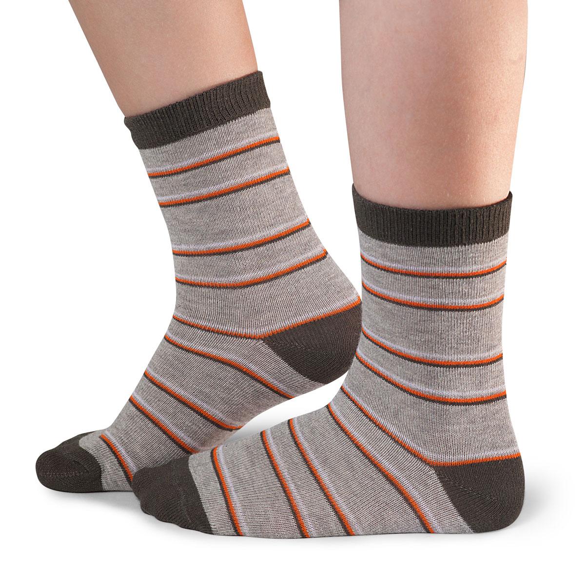 Носки для мальчика Idilio, цвет: терракотовый, серый. SB20. Размер 30/32SB20Комфортные носки для мальчиков с добавлением экологически чистого хлопка, изготовленные без применения химических красителей.