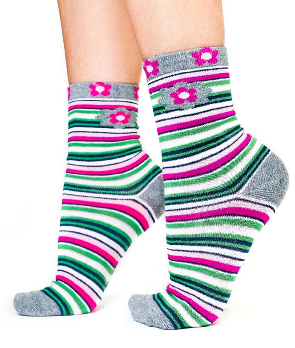 Носки для девочки Idilio, цвет: белый, зеленый. SG09. Размер 30/32SG09Комфортные носки для девочек с добавлением экологически чистого хлопка, изготовленные без применения химических красителей.