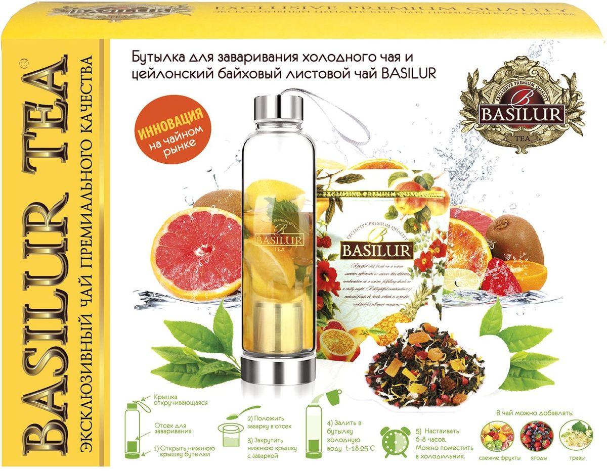 Basilur чай листовой + бутылка для чай набор, 100 г гладилка rubi 50х23см 72956