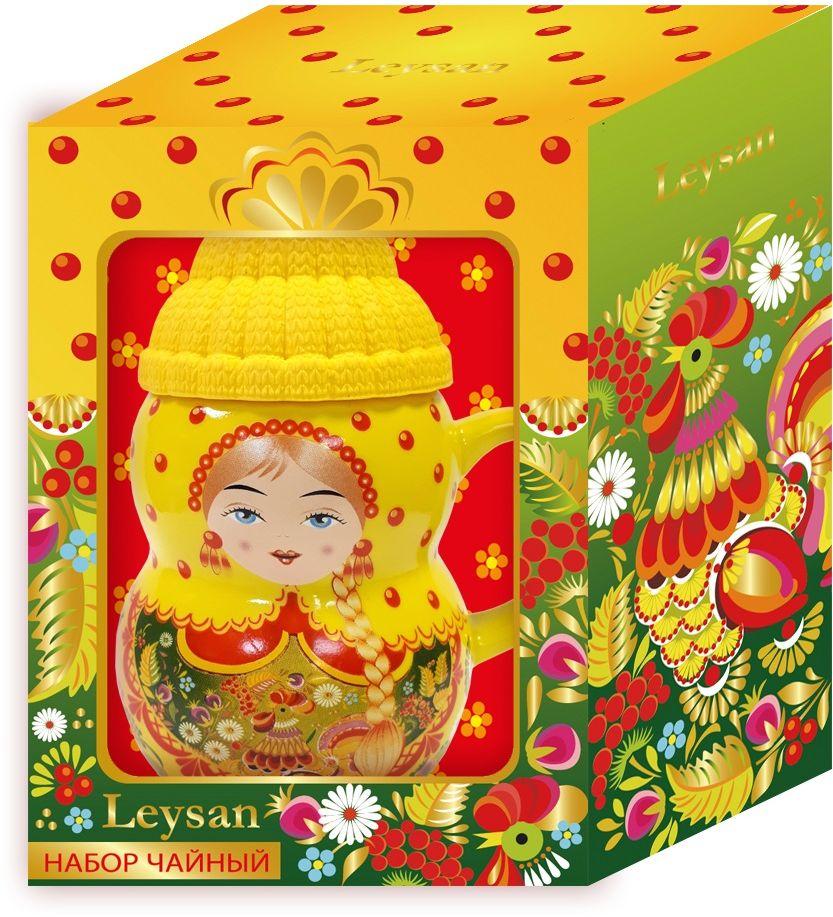 Leysan Матрешка чай листовой + кружка (желтая), 30 г майский чайная матрешка синяя черный листовой чай 30 г