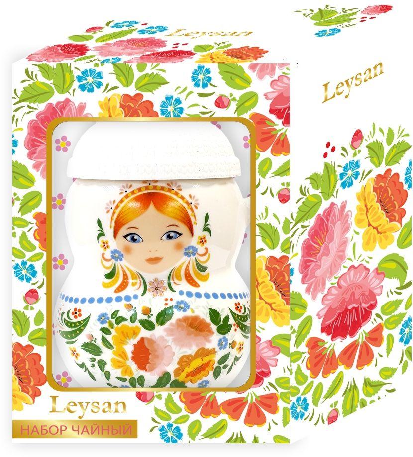 Leysan Матрешка чай листовой + кружка (белая), 30 г майский чайная матрешка синяя черный листовой чай 30 г