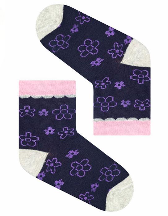 Носки для девочки Idilio, цвет: темно-фиолетовый. SG12. Размер 27/29SG12Комфортные носки для девочек с добавлением экологически чистого хлопка, изготовленные без применения химических красителей.
