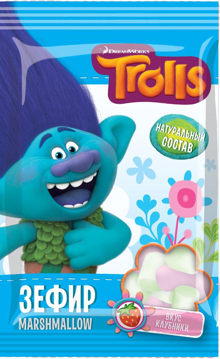 Конфитрейд Trolls зефир в пакете, 25 г супергероймеч фруктовое драже с игрушкой 5 г