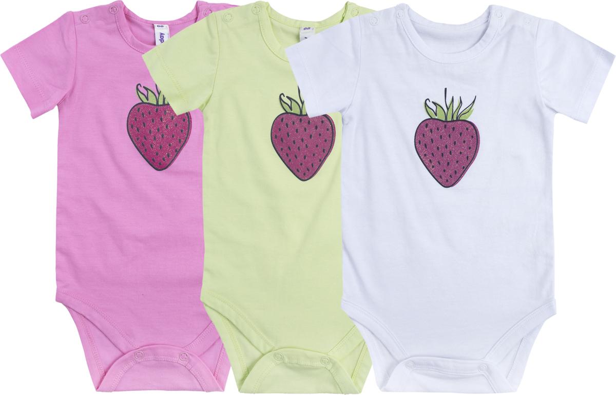 Боди для девочки PlayToday, цвет: белый, розовый, светло-зеленый, 3 шт. 188855. Размер 62188855