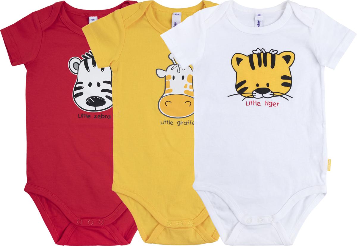Боди для мальчика PlayToday Веселые джунгли, цвет: белый, желтый, красный, 3 шт. 187870. Размер 62187870Боди-футболки для мальчика PlayToday Веселые джунгли послужат идеальным дополнением к гардеробу вашего ребенка, обеспечивая ему наибольший комфорт. Боди изготовлены из натурального хлопка, благодаря чему они необычайно мягкие и легкие, не раздражают нежную кожу ребенка и хорошо вентилируются. Удобные запахи на плечах и кнопки на ластовице помогают легко переодеть младенца или сменить подгузник. Боди полностью соответствуют особенностям жизни ребенка в ранний период, не стесняя и не ограничивая его в движениях. В комплект входят три боди разного цвета.