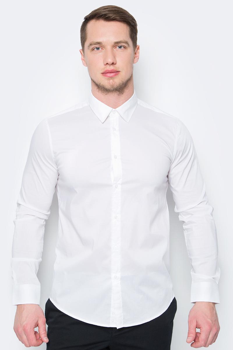 Рубашка мужская United Colors of Benetton, цвет: белый. 5AWR5QE28_101. Размер XXL (54/56) рубашка мужская system of hegemony zb zm6085 2015