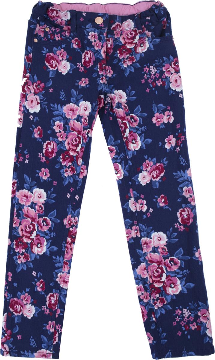Брюки для девочки PlayToday, цвет: темно-синий, розовый, белый. 182061. Размер 104182061Брюки из натуральной набивной ткани. Пояс изнутри регулируется по ширине, со шлевками, при необходимости можно использовать ремень. Брюки дополнены карманами.