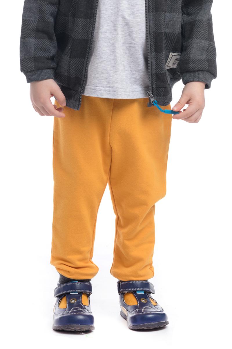 Брюки для мальчика PlayToday, цвет: желтый, серый. 187018. Размер 74187018Брюки для мальчика PlayToday выполнены из высококачественного материала. Модель дополнена эластичным поясом с кулиской.
