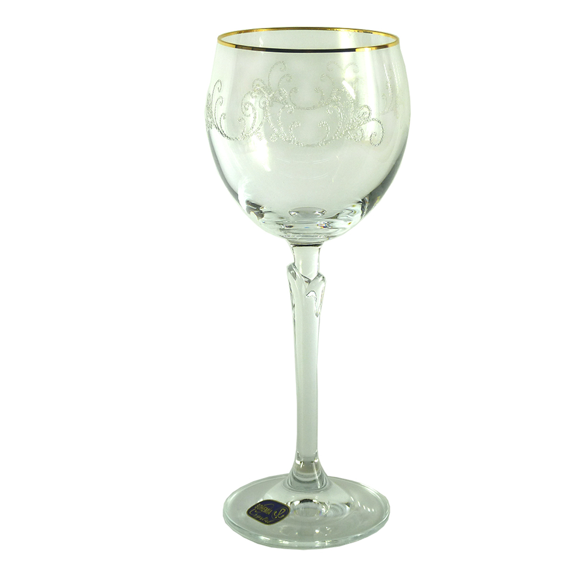 """Набор бокалов для вина Bohemia Crystal коллекции """"Бриджита"""" изготовлен из хрустального высококачественного богемского стекла, славящегося своим высоким качеством. Бокалы декорированы золотой отводкой и узором """"Кружева"""" и выполнены на ножке с дизайном в виде стебля растения. Коллекция """"Бриджита"""" - это изысканный дизайн для особенной сервировки стола. Объем бокала 200 мл. Количество в упаковке 6 шт."""