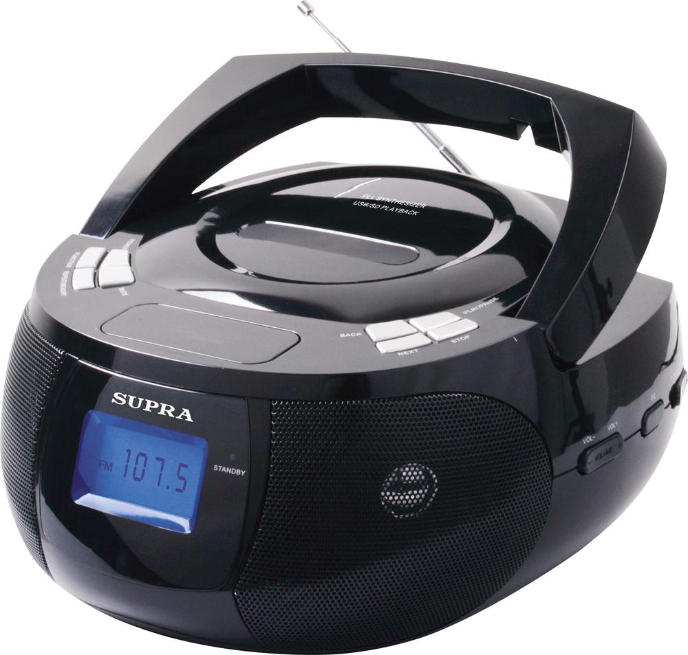 Supra BB-33MUS магнитолаBB-33MUSSupra BB-33MUS - компактная и стильная магнитола, предназначенная для прослушивания музыки с флеш-карт, карт памяти формата SD объемом до 32 Гб и внешних источников. Она оборудована удобно расположенными входами USB и AUX, а также картридером.Модель оснащена цифровым радиоприемником, который работает в популярном диапазоне частот FM, а также удобной ручкой для переноски. Текущий режим работы отображается на информативном ЖК-дисплее, который имеет подсветку для удобства использования.Также имеются функции отключения звука, настройки часов и сохранения радиостанций. Устройство получает питание от 8 батарей LR14 (UM-2) или от электросети через отсоединяемый шнур питания.