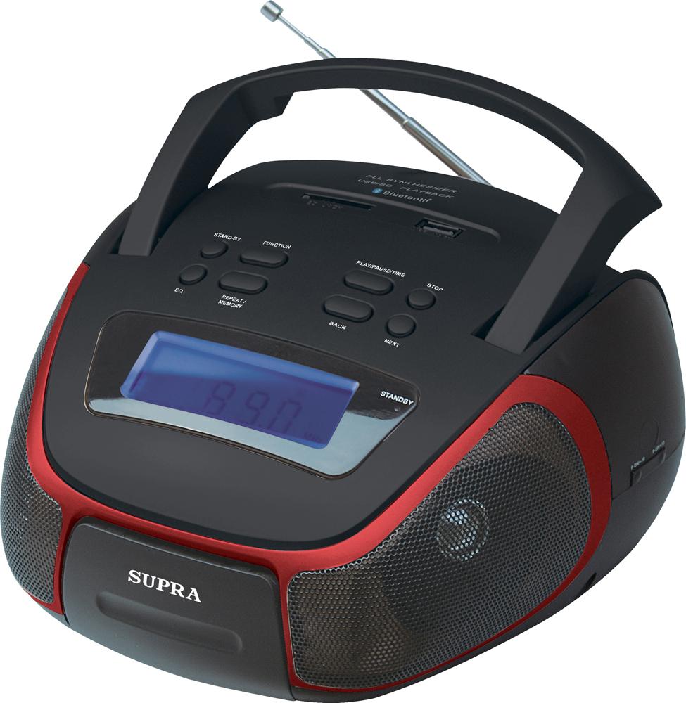 Supra BB-40MUSB магнитолаBB-40MUSBSupra BB-40MUSB - компактная и стильная магнитола, предназначенная для прослушивания музыки с флеш-карт, карт памяти формата SD объемом до 32 Гб и внешних источников посредством Bluetooth и AUX-кабеля.Модель оснащена цифровым радиоприемником, который работает в популярном диапазоне частот FM, а также удобной ручкой для переноски. Текущий режим работы отображается на информативном ЖК-дисплее, который имеет подсветку для удобства использования.Также имеются функции часов. Устройство получает питание от 6 батарей LR14 (UM-2) или от электросети через отсоединяемый шнур питания.