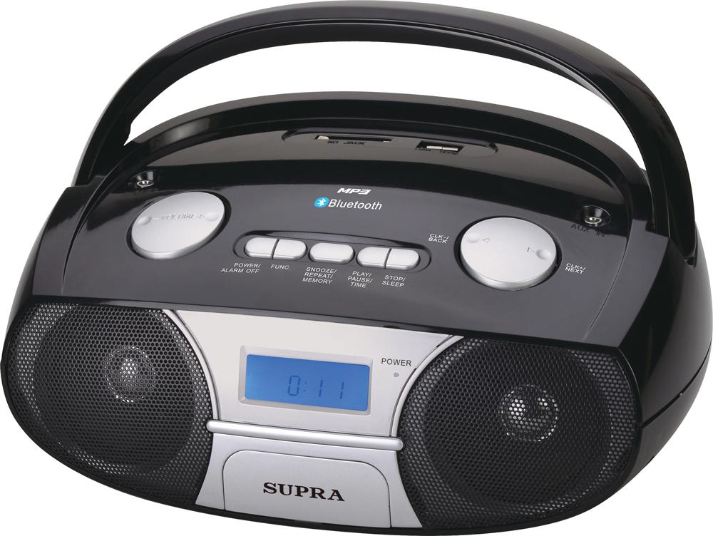 Supra BB-45MUSB магнитолаBB-45MUSBSupra BB-40MUSB - компактная и стильная магнитола, предназначенная для прослушивания музыки с флеш-карт, карт памяти формата SD объемом до 32 Гб и внешних источников посредством Bluetooth и AUX-кабеля.Модель оснащена цифровым радиоприемником, который работает в популярном диапазоне частот FM, а также удобной ручкой для переноски. Текущий режим работы отображается на информативном ЖК-дисплее, который имеет подсветку для удобства использования.Также имеются функции будильника. Устройство получает питание от 6 батарей LR14 (UM-2) или от электросети через отсоединяемый шнур питания.