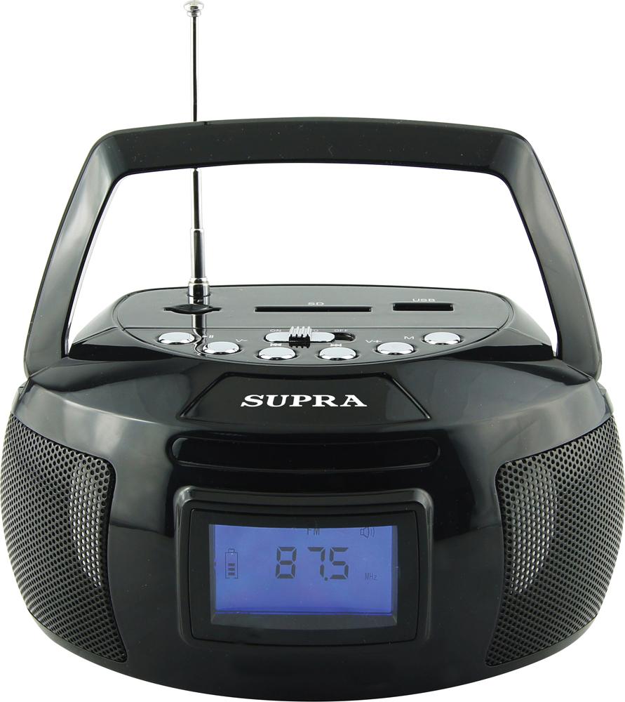 Supra BB-47MUSB магнитолаBB-47MUSBSupra BB-47MUSB - компактная и стильная магнитола, предназначенная для прослушивания музыки с флеш-карт, карт памяти формата SD/microSD объемом до 32 Гб и внешних источников посредством Bluetooth и AUX-кабеля.Модель оснащена цифровым радиоприемником, который работает в популярном диапазоне частот FM, а также удобной ручкой для переноски. Текущий режим работы отображается на информативном ЖК-дисплее, который имеет подсветку для удобства использования.Также имеются функции часов и будильника. Устройство получает питание от встроенного Li-Ion аккумулятора, в котором достаточно энергии для длительной работы без подзарядки.