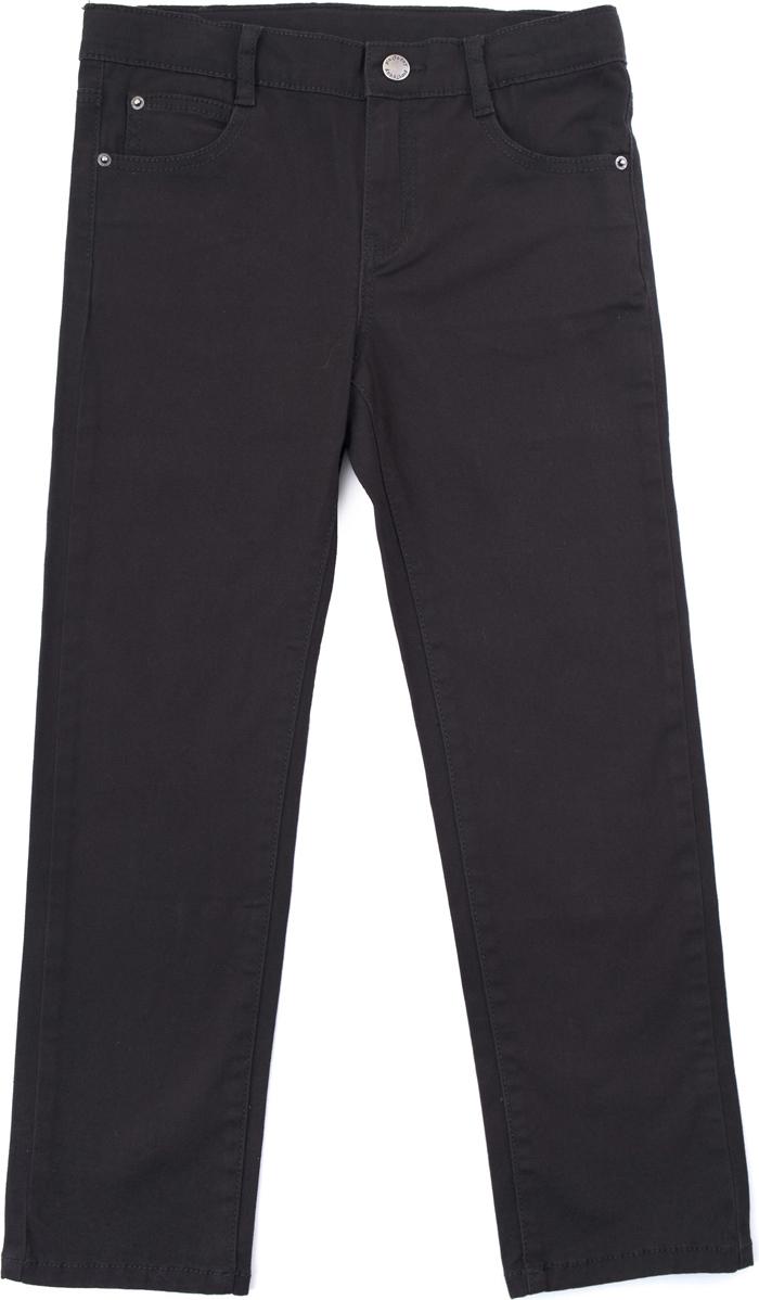 Брюки для мальчика PlayToday, цвет: коричневый. 181059. Размер 134/140181059Классические 5-ти карманные брюки выполнены из натурального хлопка. Модель со шлевками, при необходимости можно использовать ремень. Изнутри пояс брюк регулируется по ширине за счет резинки на пуговицах. Брюки застегиваются на молнию и кнопку.