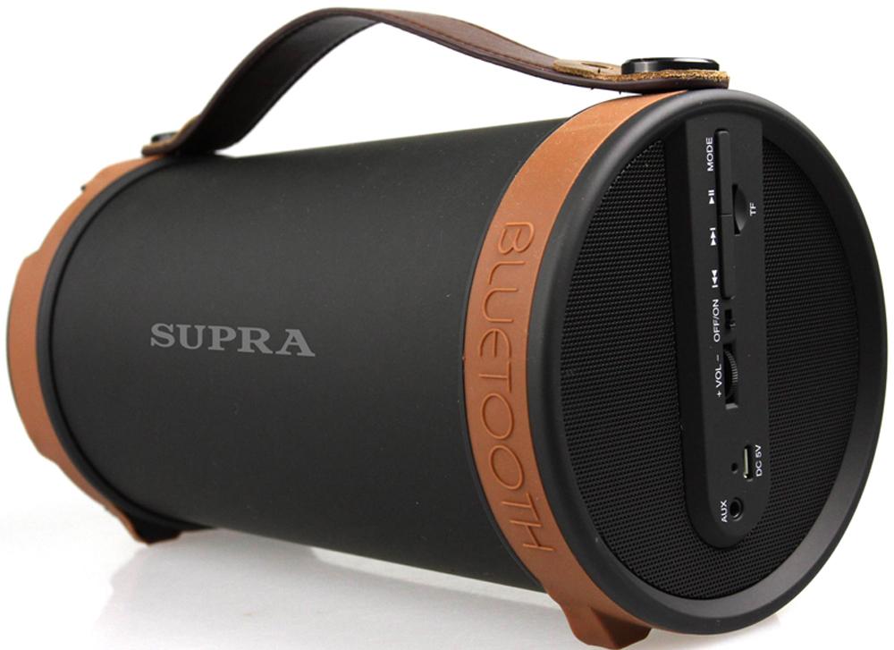 Supra BTS-877 портативная аудиосистемаBTS-877Активная акустическая система 2.1 Supra BTS-877 с 4 дюймовым сабвуфером позволит вам прослушивать любимые композиции везде, где бы вы ни находились. Колонка имеет поддержку технологии беспроводной связи Bluetooth, что позволит использовать в качестве источника звука любое устройство, оснащенное Bluetooth-интерфейсом, а также гаджеты iPad и iPhone. Дальность передачи беспроводного сигнала достигает 10 м.Модель оснащена встроенным FM-тюнером и поддерживает microSD-карты. Также устройство может подключаться при помощи AUX кабеля. Работает система от встроенного Li-Ion аккумулятора и может автономно воспроизводить звук в течение 2 ч. На корпусе имеются кнопки для управления воспроизведением.